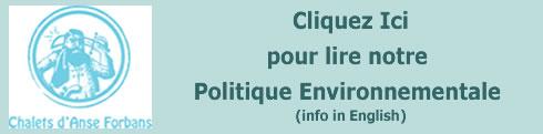 Politique environnementale des Chalets d'Anse Forbans Self Catering aux Seychelles.